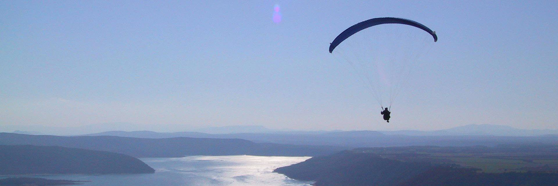 Para-gliding over the Lake of Sainte Croix